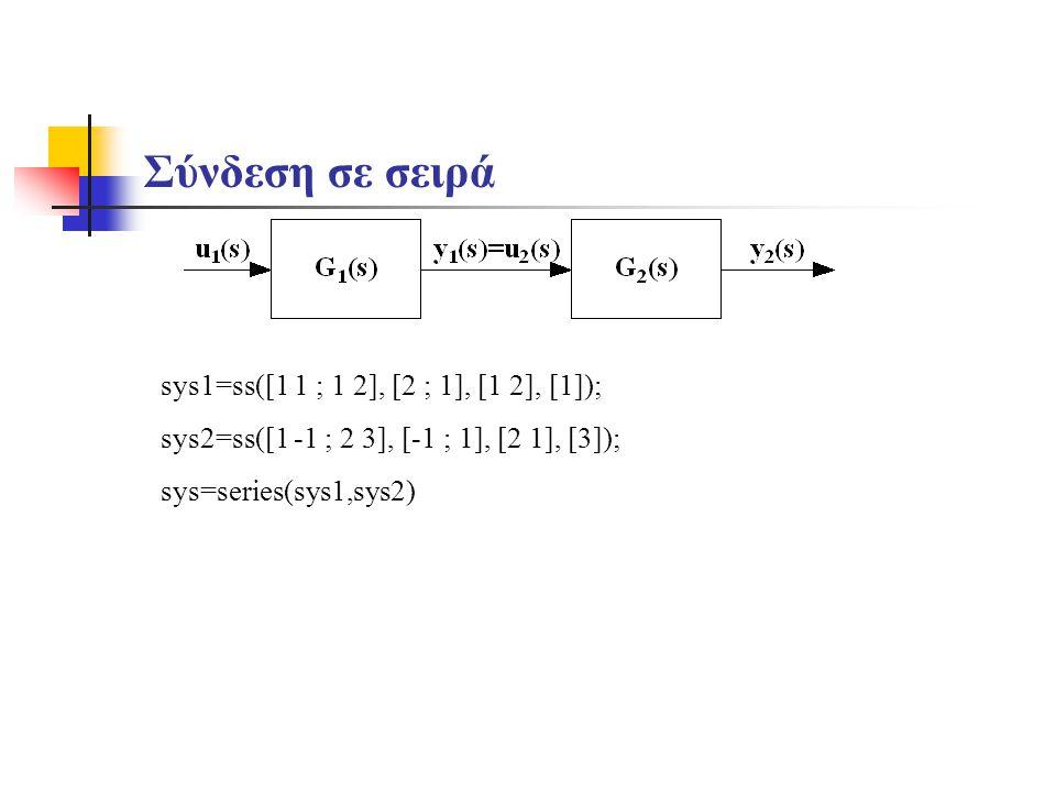 Σύνδεση σε σειρά sys1=ss([1 1 ; 1 2], [2 ; 1], [1 2], [1]);